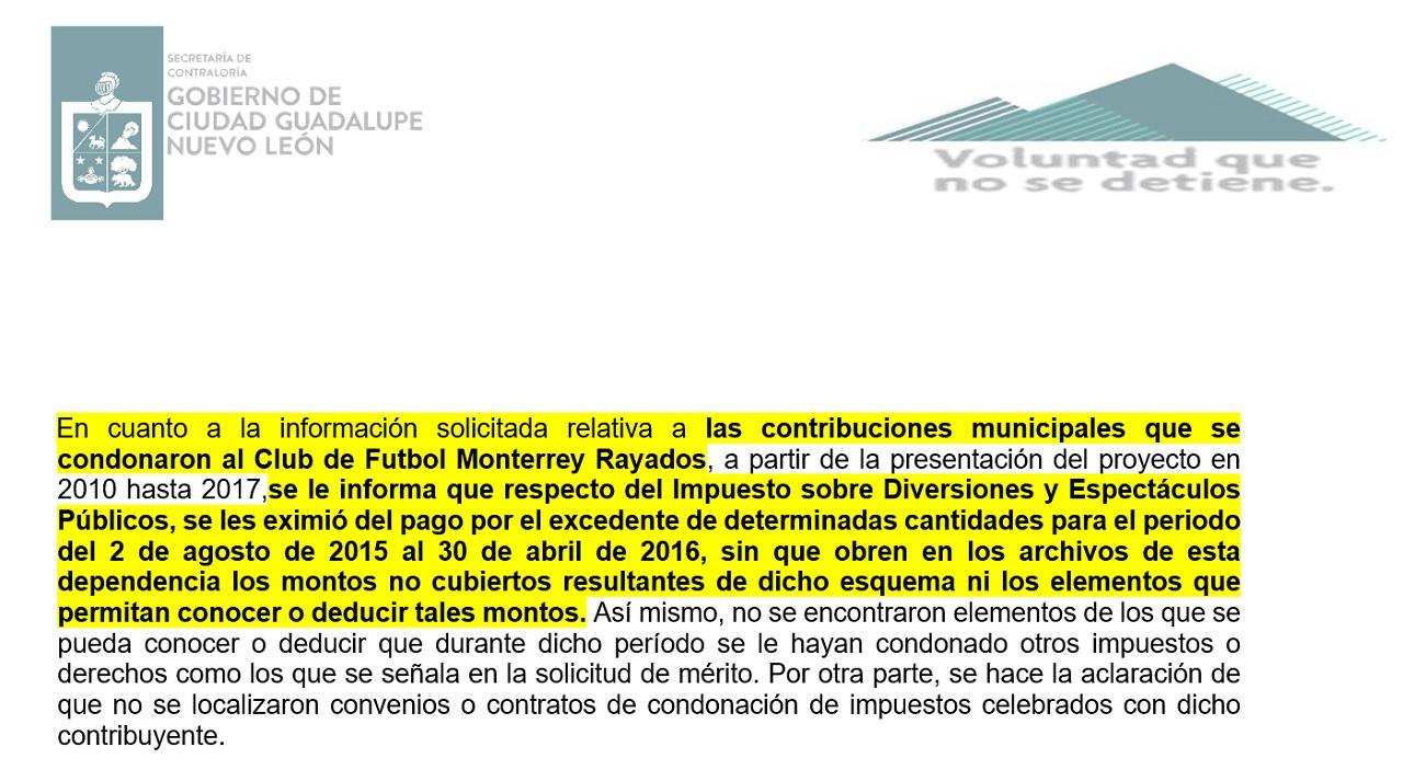 Se eximió del pago de impuestos municipales a Rayados