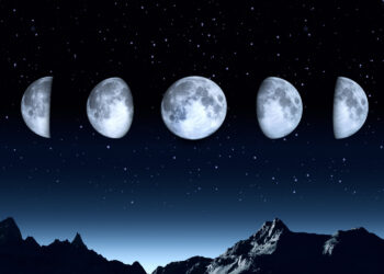 All phases of the moon on a clear dark sky