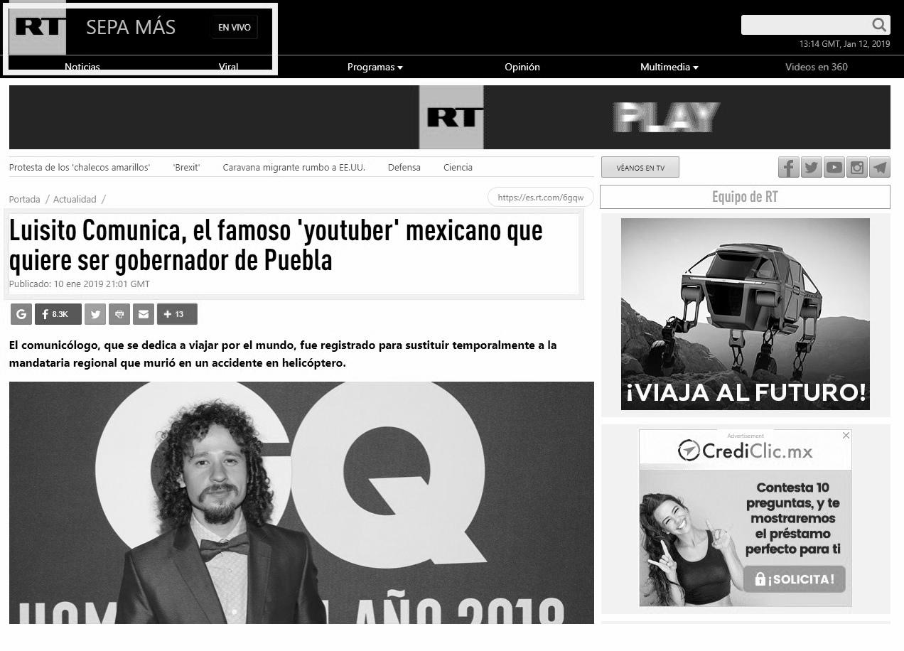 Es FALSO que Luisito Comunica quiera ser gobernador interino de Puebla